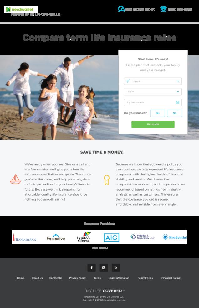 Nerdwallet insurance landing page